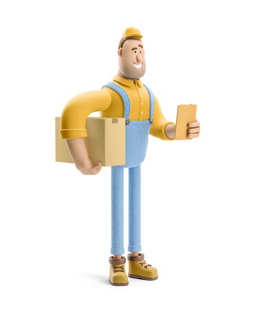 Deliveryman in overalls holds a box with a parcel and order form in his hands. 3d illustration. Cartoon character. Reklamní fotografie