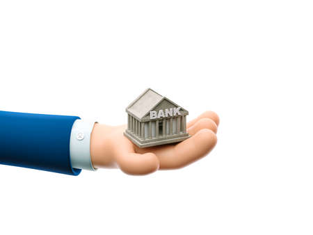 Cartoon businessman character hand holding a small bank house. 3d illustration.