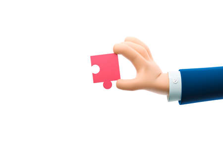 Cartoon businessman character hand holding a puzzle piece. 3d illustration. Zdjęcie Seryjne