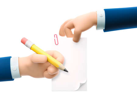 Cartoon businessman character hands holding document and pencil. 3d illustration. Fill form concept. Zdjęcie Seryjne