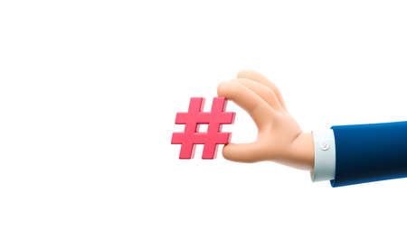 Cartoon businessman character hand holding a hashtag sign. 3d illustration.
