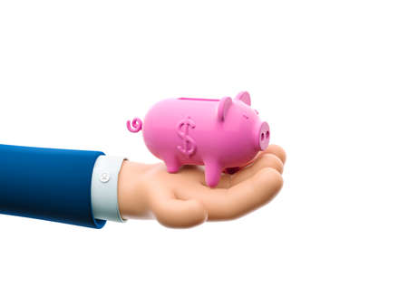 Cartoon businessman character hand holds piggy banks. 3d illustration. The concept of saving money Zdjęcie Seryjne