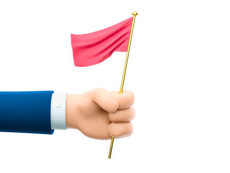 Cartoon businessman character hand holding small red flag. 3d illustration.