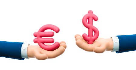 Cartoon businessman character hand hold dollar and euro sign. Currency exchange. 3d illustration.