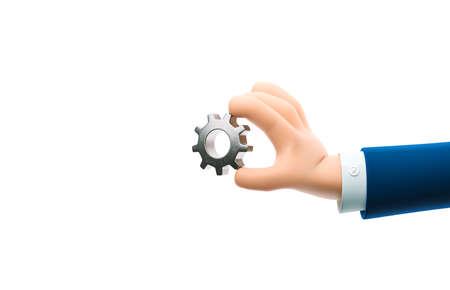 Cartoon businessman character hand holding a  metal gear sign. 3d illustration. Zdjęcie Seryjne