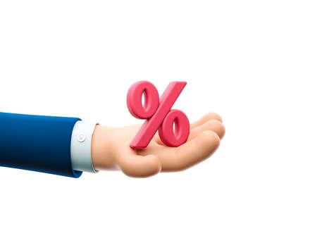 Cartoon businessman character hand holding a percent sign. 3d illustration. Zdjęcie Seryjne