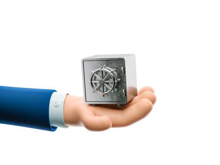 Cartoon businessman character hand holding a metal safe. 3d illustration. Zdjęcie Seryjne