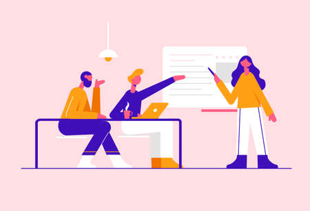 The team works in the office. Modern vector minimalistic illustration. Social media concept.