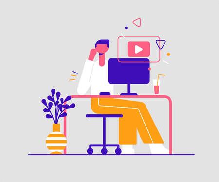 Video tutorial concept. Modern vector minimalistic illustration. Online study concept. Ilustracja