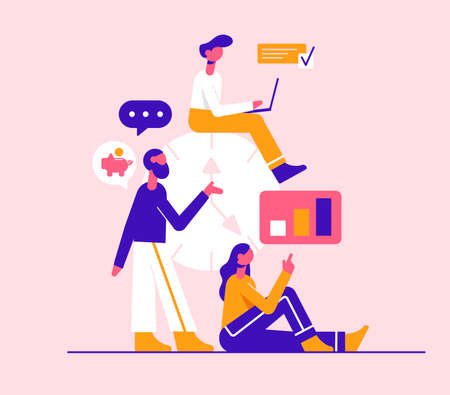 Time management. Modern vector minimalistic illustration. Social media concept.