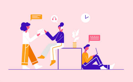 Young people working together in Co-working. Modern vector minimalistic illustration. Social media concept.