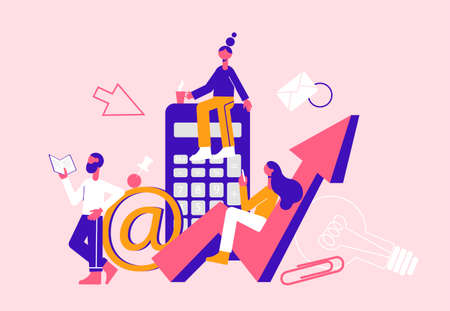Business adviser team. Modern vector minimalistic illustration. Social media concept. Ilustracja
