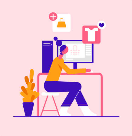 The girl makes purchases in the online store on computer. Modern vector minimalistic illustration. Social media concept.
