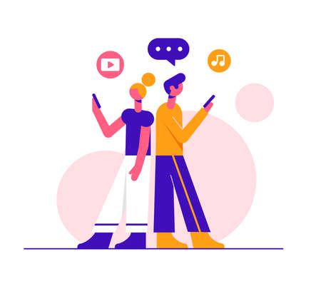 Couple in love texting. Modern vector minimalistic illustration. Social media concept. Ilustracja
