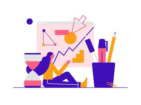 Marketing analysts developing strategy. Modern vector minimalistic illustration. Social media concept.