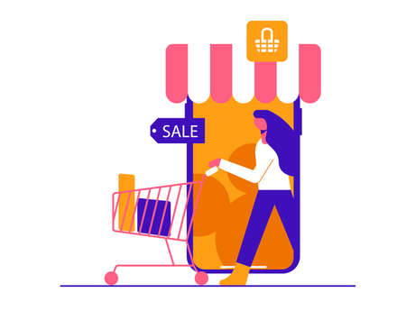 The girl makes purchases in the online store. Modern vector minimalistic illustration. Social media concept.