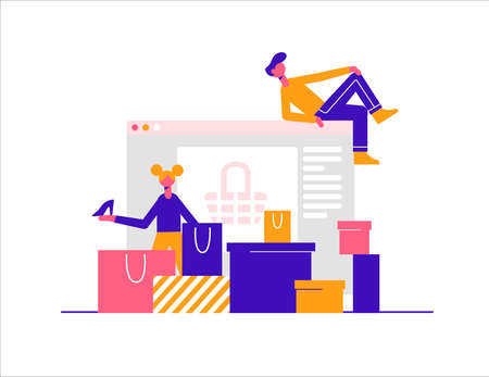 Young people makes purchases in the online store. Modern vector minimalistic illustration. Online shopping concept. Ilustracja