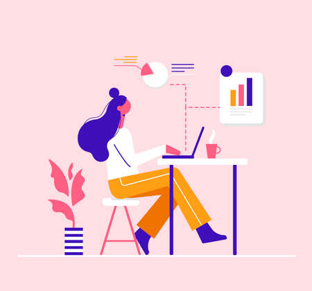 The girl is engaged in analytics on the computer, Modern vector minimalistic illustration. Social media concept. Ilustracja