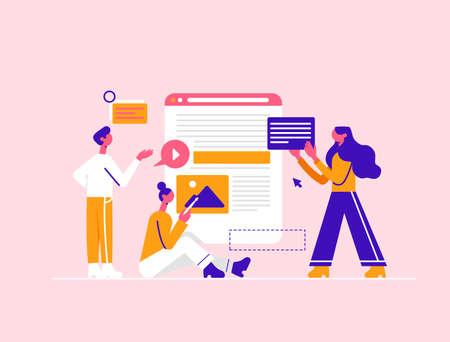 Website development. Modern vector minimalistic illustration. Social media concept. Ilustracja