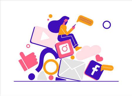 Girl in social networks. Modern vector minimalistic illustration. Social media concept. Ilustracja