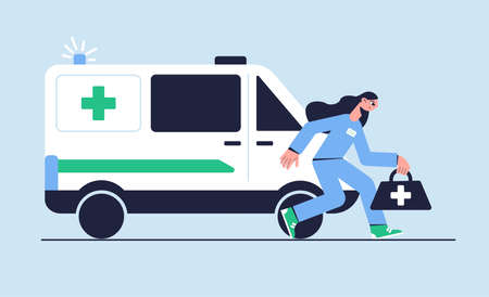 Ambulance car. The doctor rushes to the call. Medical concept. Vector illustration. Ilustrace