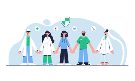 Team of doctors. Medical concept. Vector illustration.