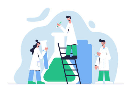Doctors experimenting in the laboratory. Medical concept. Vector illustration.