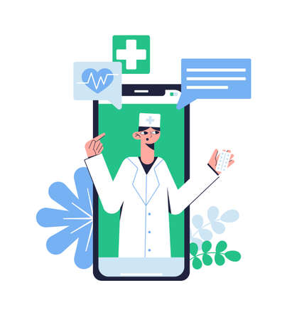 Online consultation with a doctor. Telemedicine. Medical concept. Vector illustration.