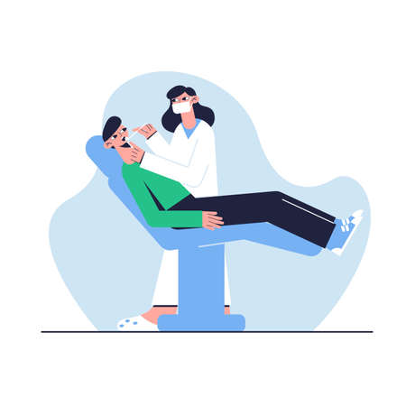 The patient sits in the dentist's chair. Medical concept. Vector illustration. Ilustrace