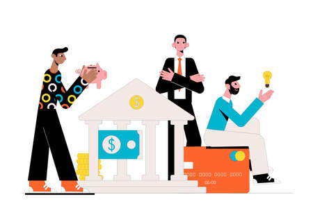 Bank lending. Business concept. Vector illustration.