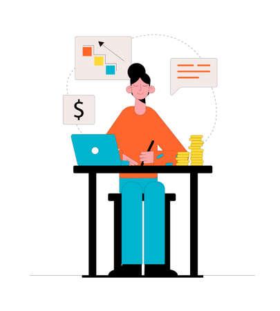 Businesswoman makes money online. Business concept. Vector illustration. Ilustrace