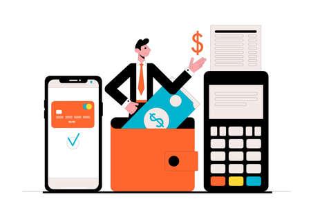 Online wallet. Business concept. Vector illustration. Ilustrace
