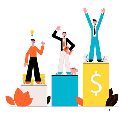 Money success. Business concept. Vector illustration.