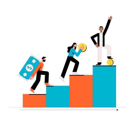 Money success. Business concept. Vector illustration. Ilustrace