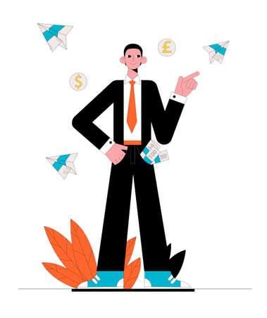 Successful businessman. Business concept. Vector illustration.