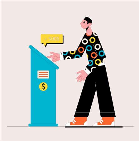 Customer standing near atm. Business concept. Vector illustration.