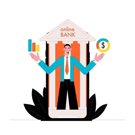 Online banking. Vector illustration. Business concept. Ilustrace