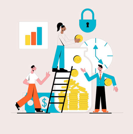 Saving or accumulating money. Business concept. Vector illustration.