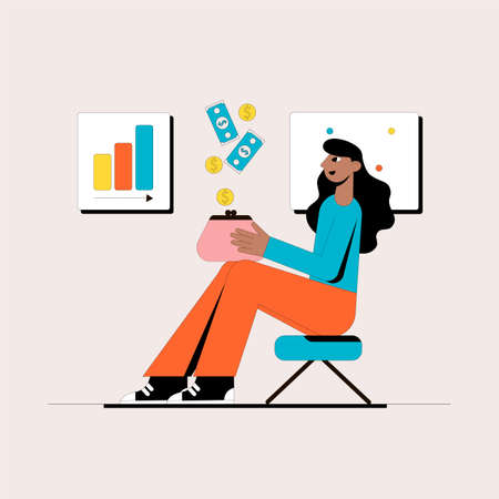 Girl with a wallet. Business concept. Vector illustration.