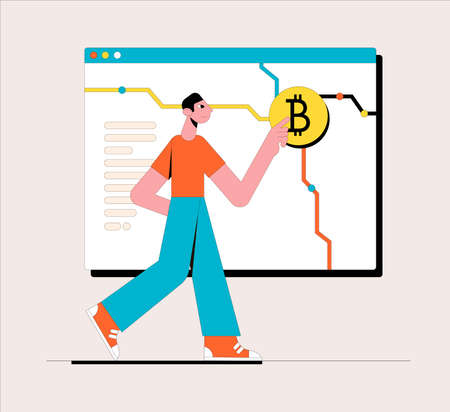 Cryptocurrency exchange platform. Business concept. Vector illustration. Ilustrace
