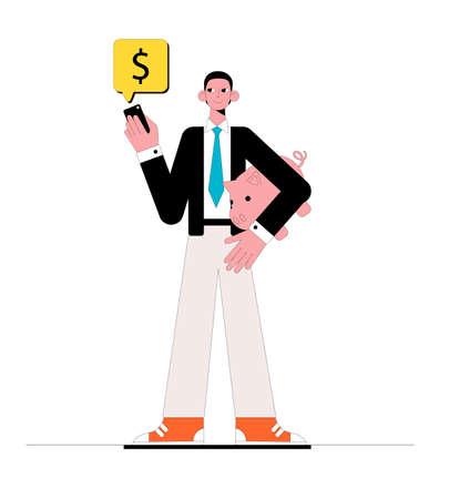 Businessman and online bank. Business concept. Vector illustration.