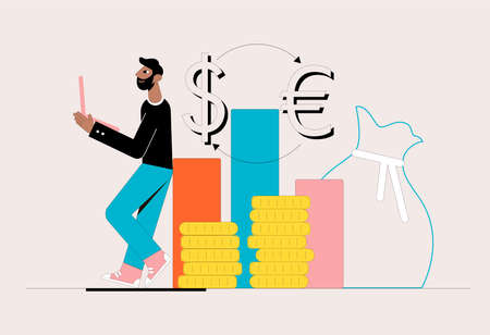 Businessman playing on the stock exchange. Business concept. Vector illustration.