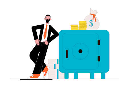 Big safe with money and businessman. Business concept. Vector illustration. Ilustrace