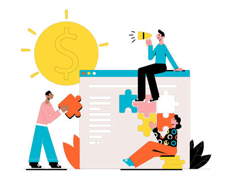 The team is working on an online startup. Business concept. Vector illustration. Ilustrace