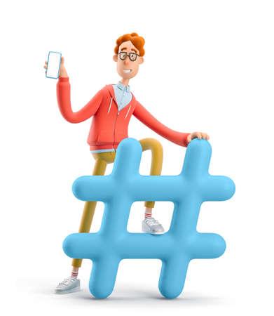 Social network modern communication concept. Nerd Larry with hashtag sign. 3d illustration.