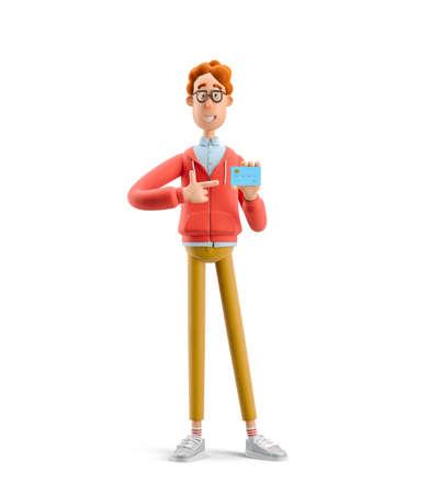 Nerd Larry with credit or debit card. 3d illustration.