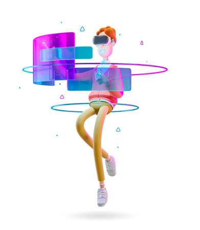 VR concept. Nerd Larry in virtual reality glasses. 3d illustration.