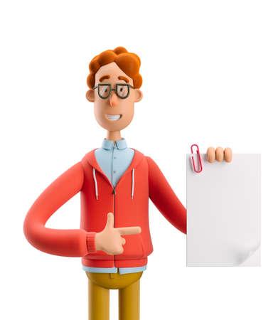 Nerd Larry with document. 3d illustration.