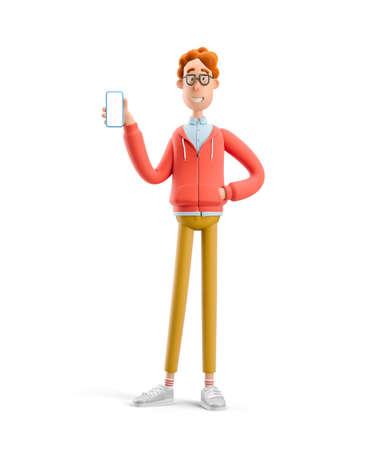 Larry the nerd.  Nerd Larry  holds the phone. 3d illustration. 写真素材