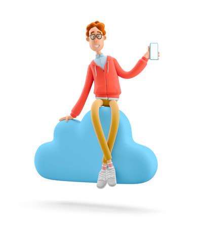 Concept mobile application and cloud services. Nerd Larry sits on big cloud sign. 3d illustration.
